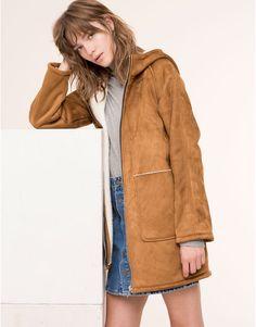 Pull&Bear - donna - cappotti - cappotto fodera in montone con cappuccio…