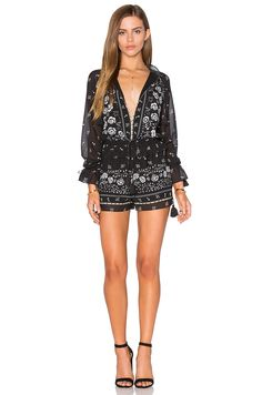 SAYLOR Reilly Romper in Black & White