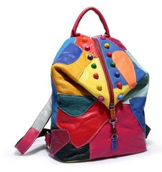 Cheap Backpacks, Buy Directly from China Suppliers:Casual Women's Colorful Leather Backpacks Girl Lady Student School Travel Bags Princess Mochila Women Bag Paillette Bling Bags Girl Backpacks, Leather Backpacks, Colorful Backpacks, Travel Bags For Women, School Bags For Girls, Cow Leather, Vintage Leather, Fashion Backpack, Travel Backpack