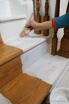 How to Install a Stair Runner - Use a paint brush and interior water-based latex semi-gloss paint (2 coats) to paint your wood stairs after priming. - Thrift Diving Stairs And Staircase, Staircase Makeover, Carpet Stairs, Staircase Design, Spiral Staircases, Painted Wood Stairs, Stair Runner Installation, Narrow Hallway Decorating, Modern Stairs