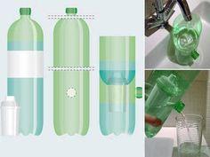 Filtro de água feito de garrafa PET