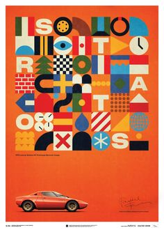 Lancia Stratos HF Prototype Orange 1971 U&L Edition Poster Graphic Design Illustration, Digital Illustration, Graphic Art, Graphic Posters, Elements And Principles, Tropical, Graphic Design Inspiration, Abstract Pattern, Geometric Shapes