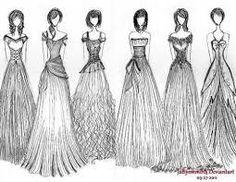 Bildergebnis für kleiderskizzen abendkleid bunt