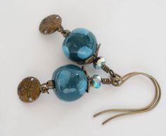 Blue Kazuri Earrings Brass Sand Dollar Charms by MagnoliaStudio, $24.00