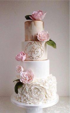 Indescribable Your Wedding Cakes Ideas. Exhilarating Your Wedding Cakes Ideas. Elegant Wedding Cakes, Elegant Cakes, Beautiful Wedding Cakes, Gorgeous Cakes, Wedding Cake Designs, Pretty Cakes, Foto Pastel, Ruffle Cake, Wedding Cake Inspiration