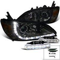 Cheap Honda Civic Smoke Halo Projector Headlights W/LED Driving Fog Lamps sale