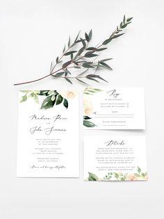 New Diy Wedding Planning Printables Invitation Templates Ideas Printable Wedding Invitations, Modern Wedding Invitations, Floral Wedding Invitations, Wedding Stationery, Wedding Cards, Diy Wedding, Trendy Wedding, Event Invitations, Green Wedding
