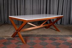 Massive cherry wood table / desk 1950 Massive and large table / desk which reminds the works of Ico Parisi and Enrico Ciuti, manufactured in Italy in the early '50s. Impressive cherry wood structure, white calacatta marble top.