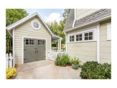 detached garage with mini porch/overhang