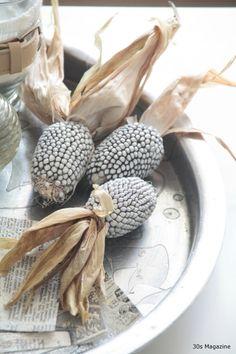 white corn fall decorating