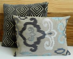 Ikat decorative pillow cover gray silver blue by pillowflightpdx
