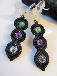 Black Macrame Earrings with Gemstone beads by PapachoCreations