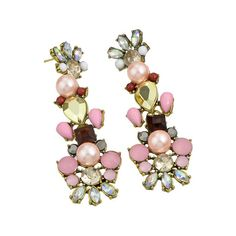 Colorful Rhinestone Long Flower Earrings ($5.59) ❤ liked on Polyvore featuring jewelry, earrings, tri color earrings, multi color jewelry, multi colored rhinestone earrings, long earrings and multi colored rhinestone jewelry