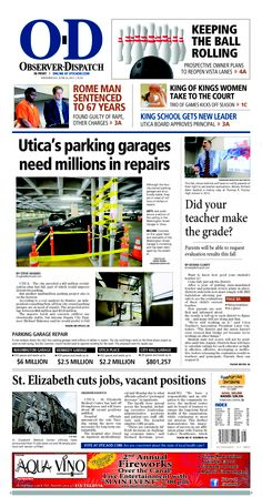 The front page for Wednesday, June 26, 2013: Utica's parking garages need millions in repairs