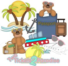 TWO TICKETS to PARADISE, made to order, travel, vacation, premade paper piecing, scrapbook page, album, border, kids, cruise, beach on Etsy, $19.99