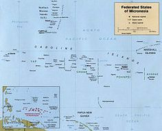 Map of the Federated States of Micronesia CIA - Federativní státy Mikronésie – Wikipedie South Pacific, Pacific Ocean, Kiribati Island, Federated States Of Micronesia, Island Nations, Solomon Islands, Marshall Islands, Economic Development, Geography