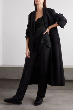 Black Mica patchwork wool and silk-blend crepe, twill and velvet top Velvet Tops, Black Wool, The Row, Duster Coat, Casual Outfits, Normcore, Menswear, Street Style, Silk