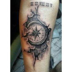 Compass tattoo , cracked tattoo