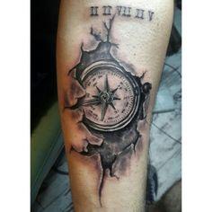 Compass tattoo , cracked tattoo