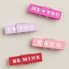 One of my favorite discoveries at WorldMarket.com: Hand-Painted Valentine's Day Wooden Clips, Set of 4