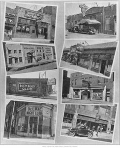 """Local Nightclubs  - Composite photograph which features eight different nightclubs/speakeasies located in Kansas City during the 1930s. Photograph was made from image as published in the """"Future"""" newsweekly, Vol. 1, No. 12, March 29, 1935, p. 1, MVSC F051 F996. Includes: Dante' Inferno, Red & Dutch at 924-28 W. 8th, Hey-Hay Club at 4th and Cherry, DeLuxe Night Club, Harlem Nite Cub, Wiggle Inn, Derby Tavern, and King Kong on 12th Street.    Date 1935"""