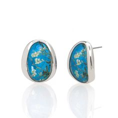 Van Gogh Silvertone Almond Blossom Button Earrings