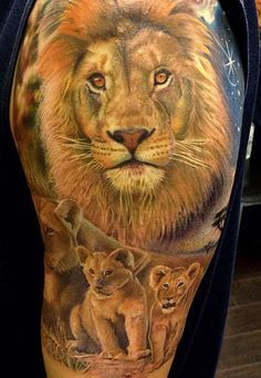 lion with cubs sleeve tattoo - Google Search