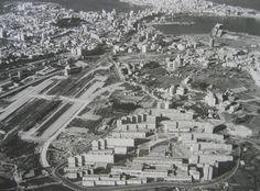 Vista aérea do Barrio das Flores na Coruña (1972)