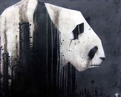 Industrial Panda Paintings - Artist SIT Depicts Portions of the Lovable Bear as Smoke Stacks (GALLERY)