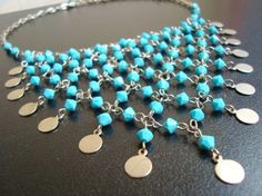Turquoise Swarovski Beads and Disc Fun Necklace for $24.00 at etsy.com