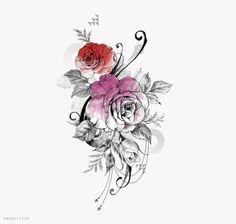 장미 타투 디자인 by 타투이스트 리버