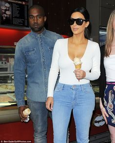 Denim duo: Kim Kardashian and Kanye West grabbed ice cream in Paris, France on Sunday