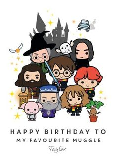 Harry Potter Ron Weasley Hermione Granger Favourite Muggle Birthday Card