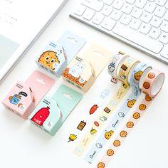 4 pcs Cookies friends paper washi tape set 15mm*5m Adhesive decoration tape masking sticker Scrapbooking School supplies A6753 #Affiliate