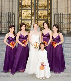 Just an idea of what a line of purple long dresses will look like.  Purple bridesmaid dresses from Anthropologie