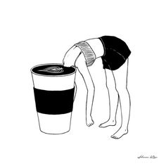 Coffee, First // Art Print by Henn Kim // This paper print is perfect for decorating any room in your home, office, or college dorm with fabulous wall art on a budget. First Art, Coffee Love, Coffee Art, Cup Of Coffee Drawing, Coffee Shop, Coffee Cups, Cozy Coffee, Coffee Menu, Coffee Painting