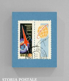 Russian Space Vintage Postal Stamp Art 8x10 by StoriaPostale, $9.00  Space race art commemorating the first anniversary of Vostok 1. On 12 April 1961, Yuri Gagarin became the first human to travel into space, launched into orbit on Vostok 1. The stamp also carries his signature. A monumental moment in history.