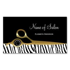 Chic Black and Gold Hair Salon White Tiger Stripes Business Cards. Make your own business card with this great design. All you need is to add your info to this template. Click the image to try it out!