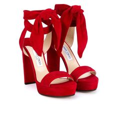 JIMMY CHOO Kaytrin 120 Suede Platform Sandals ($875) ❤ liked on Polyvore featuring shoes, sandals, heels, red platform sandals, heeled sandals, red heel sandals, red shoes and platform sandals