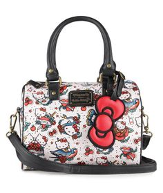 Loungefly has delivered another darling Hello Kitty duffel with edgy tattoo print and big bow charm. Hello Kitty Bag, Hello Kitty Items, Rare Beanie Babies, Hello Kitty Tattoos, All Things Cute, Backpack Purse, Cute Bags, Sanrio, Purses And Bags