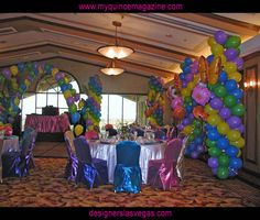 Bright Colors for Spring Quince ! Quinceanera Decorations, Balloon Decorations, Table Decorations, Balloons Galore, Super Party, Sweet Sixteen, Birthday Candles, Centerpieces, Spring