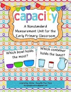 Nonstandard Capacity Unit for Kindergarten and First Grade from Busy Me Plus… Nonstandard Measurement, Measurement Kindergarten, Measurement Activities, Preschool Math, Math Classroom, Kindergarten Math, Fun Math, Teaching Math, Math Activities