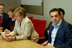From left to right: Angela Merkel, German Federal Chancellor and Alexis Tsipras, Greek Prime Minister. The two main actors of the new episode of the Greek tragedy, looking at different directions for a solution from a 'deus ex machina'. (European Council – Council of the European Union Audiovisual Services, Shoot location: Brussels – Belgium, Shoot date: 26/06/2015).