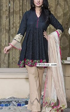 Black/Ivory Lawn Suit | Buy Kalyan Pakistani Dresses and Clothing online in USA, UK