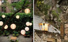 gartenideen stimmungsvolle-beleuchtung papier-laternen metall-wandgehaengt