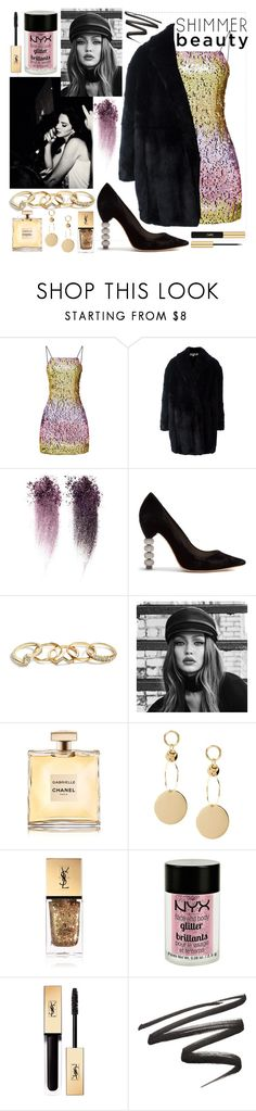"""""""💛."""" by alxice ❤ liked on Polyvore featuring McQ by Alexander McQueen, Sophia Webster, GUESS, Maybelline, Yves Saint Laurent and Charlotte Russe"""