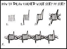 DARYL HOBSON ARTWORK: How To Draw Barbed Wire: Step By Step art art graffiti art graffiti definition art graffiti quotes art graffiti words art quotes wall art quotes Barbed Wire Drawing, Barbed Wire Tattoos, Barbed Wire Art, Art Drawings Sketches, Tattoo Sketches, Easy Drawings, Tattoo Design Drawings, Doodle Drawings, Tattoo Designs