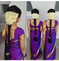 Trendy wedding hairstyles for long hair bridesmaid simple hairdos Ideas South Indian Wedding Hairstyles, Bridal Hairstyle Indian Wedding, South Indian Bride Hairstyle, Bridal Hairdo, Wedding Hairstyles For Long Hair, Hair Wedding, Wedding Dresses, Saree Hairstyles, Ethnic Hairstyles
