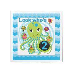 Cupcake Octopus 2nd Birthday Paper Napkins