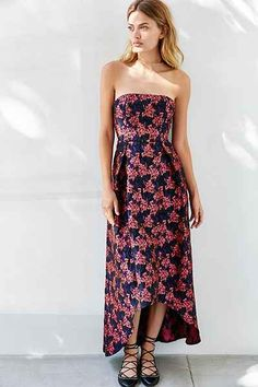 Glamorous Strapless Jacquard High/Low Maxi Dress